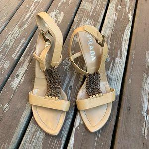 Prada chain embellished sandals size 7/7.5
